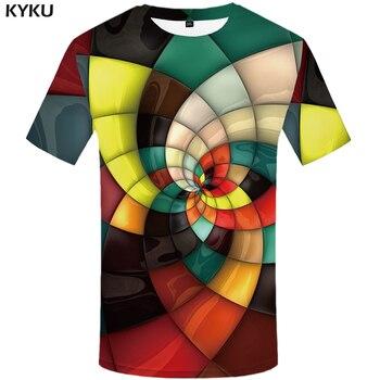 9c56d73d4b1cc KYKU Marka Ekose T shirt Erkekler Geometrik Tshirt Homme Çizgili Tişörtleri  Rahat Vortex T gömlek 3d Renkli Baskı erkek giyim