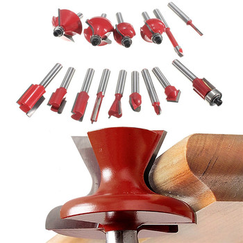 hot 1/4 15pcs Carbide Shank Wood Router Set Woodworking Cutter Trimming Knife Forming Milling Cutter Pack In Wood Case