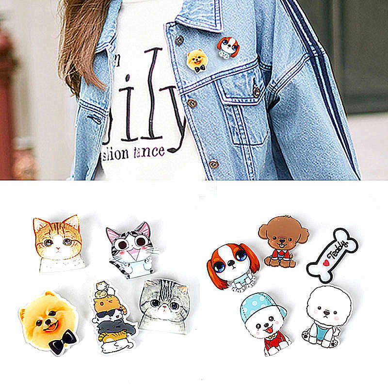 Hot Cute Cartoon 1pc Animal broches Husky Pet acrílico Collar insignia moda divertido encanto regalo