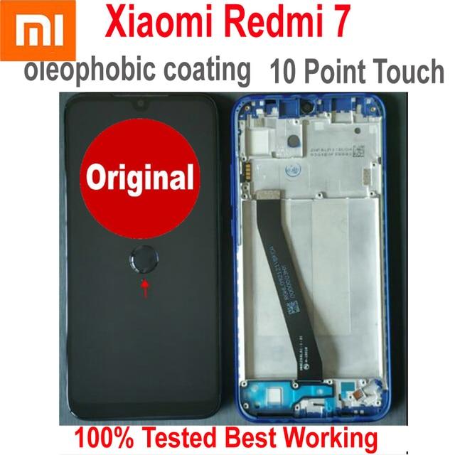 100% オリジナルの新 Xiaomi Redmi 7 コリア 7 ガラスセンサー IPS 液晶ディスプレイ 10 点タッチパネルスクリーンデジタイザアセンブリとフレーム