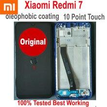 Xiaomi redmi 7 hongmi 7, sensor de vidro original, display lcd ips, 10 pontos, painel de toque, montagem digitalizadora com moldura