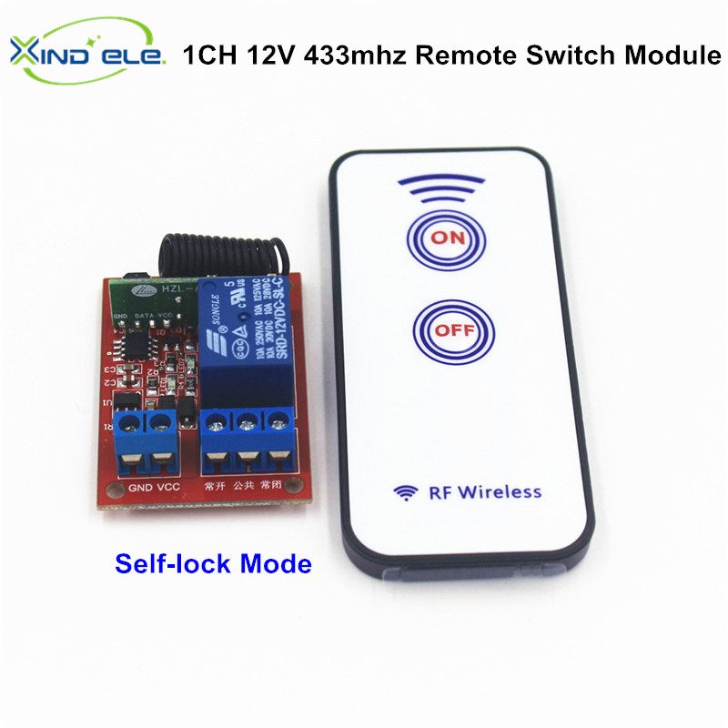 433mzh 1CH DC 12V 10A Remote Control Switch Self-lock Relay Module Receiver RF Wireless 433.92MHz Remote Controller For Light dc 12v photoresistor module relay light detection sensor light control switch l057 new hot