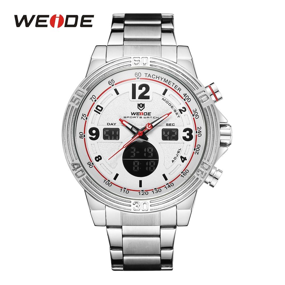 WEIDE Sport Top Luxury Brand Hardlex Chronograph Calendar Auto Date LCD Dual Display Stainless Steel Strap Quartz Men Wristwatch bag khs075vg1ba g83 38 29 lcd calendar