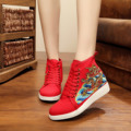 Vintage Embroidery Shoes Dragon embroidered board shoes leisure travel national canvas girls Soft Lace up Single shoes 34-40