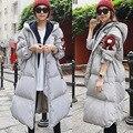Nuevo invierno Coreano engrosamiento párrafo largo flojo con capucha de gran tamaño de las mujeres chaqueta de punto cubierta de la rodilla marea abrigo parkas MZ1275