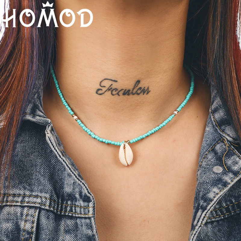 HOMOD Cute Green Beads Choker Necklaces Shell Pendant Fashion Gold Color Chain Necklace for Women Jewelry Short Chockers Collar