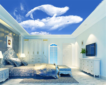 beibehang Fashionable wallpaper blue sky white clouds whales ceiling background wall papel de parede 3d