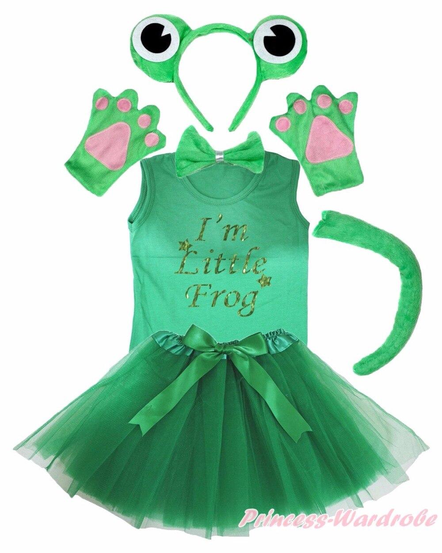 Party Child Kids Green Frog 6PC Headband Paw Tail Bow Shirt Gauze Skirt Costume каталог party kids не танцуй