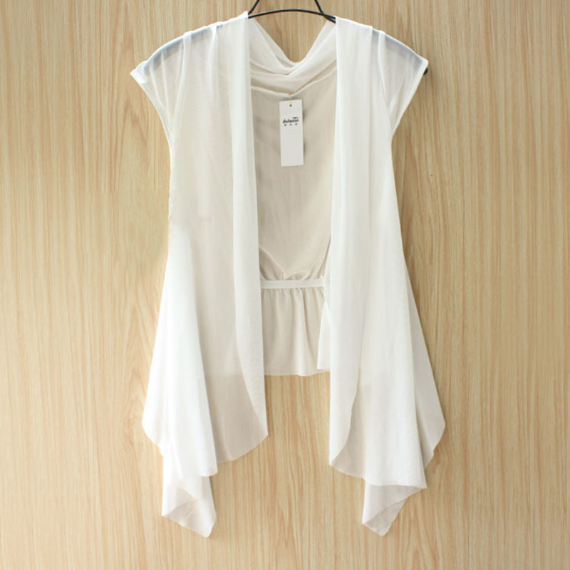 Plus size chiffon small cape outerwear summer cardigan short ...