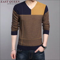 Knitted cotton fabric casual men pullover Men spliced clothing Autumn winter contton fabric v-neck sweater AA1630z