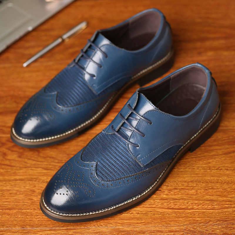 Misalwa Dropshipping verano malla primavera cuero vestido zapatos transpirables hombres Formal negocios Oxfords talla grande 38-48 para la venta