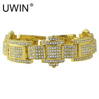 UWIN Men S Hip Hop Gold Bracelet Fashion Punk Jewelry Iced Out AAA Rhinestone Crystal Zinc