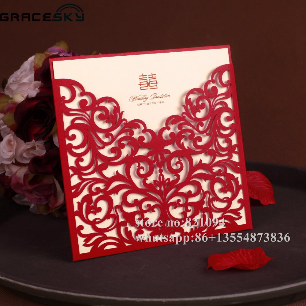 50pcs free shipping laser cut European pocket style paper wedding ...