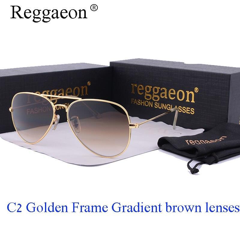3cc2c6f43f414 Reggaeon lente de vidro óculos de sol das mulheres Dos Homens de Luxo da  marca Anti-reflexo condução Piloto rayeds quente dos óculos de sol 3025 Cor  azul