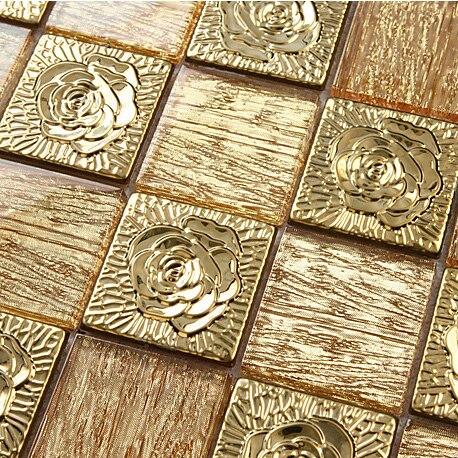 Goldfolie Küche Backsplash Fliesen Glas Edelstahl Badezimmer Wandspiegel  Badewanne Muster Mosaiken Fliesen Backsplash Deco Mesh Fliesen