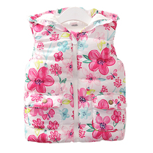 New Girls Fashion Vest Autumn Children Clothing Baby girls Cotton Printing Animals Tops Kids Clothes Hooded Coat Jacket