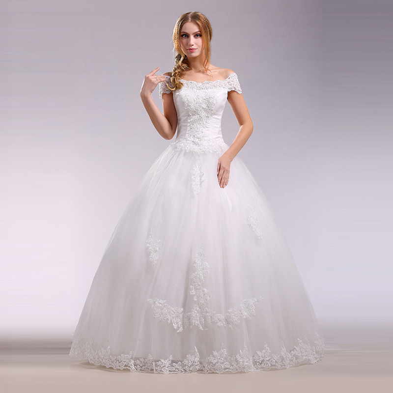 wedding dress without train off shoulder appliques bride dress women