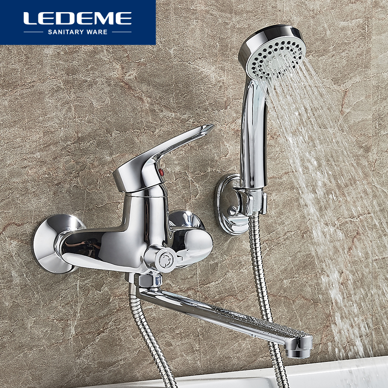 LEDEME Bathtub Faucet Bathroom Chrome Plated Outlet Pipe Bath Shower Faucets Head Surface Inside Brass Bathtub Faucets L2225