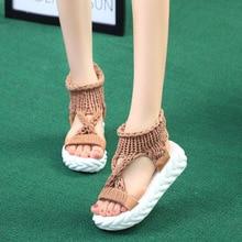 2019 Womens sandals summer new Roman womens wool hollow ladies
