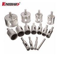 KINGGUARD 15pcs 6mm 50mm Drill Bit Diamond Coated Hole Saw Drill Bit Cutter Core Shaft Tool