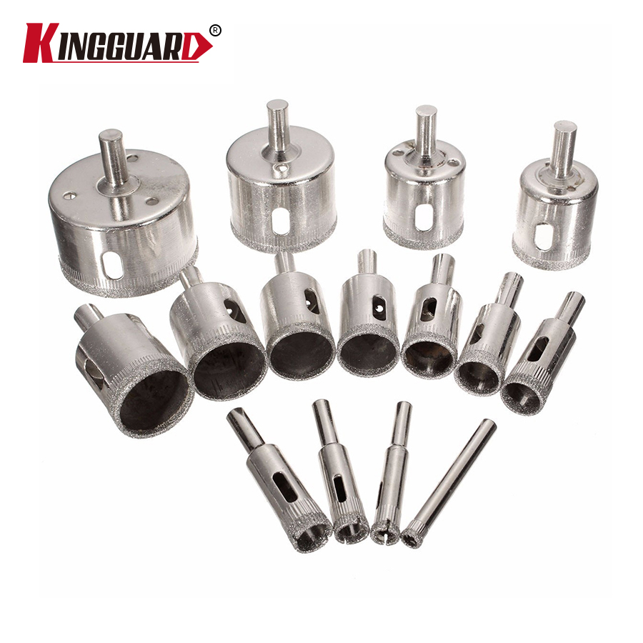KINGGUARD 15pcs 6mm-50mm Drill Bit Diamond Coated Hole Saw Drill Bit Cutter Core Shaft Tool Kit Granite Drilling Tool wall impact drill bit cut tool kit set hole saw cutter plus hammer core arbor shaft for wall masonry stone
