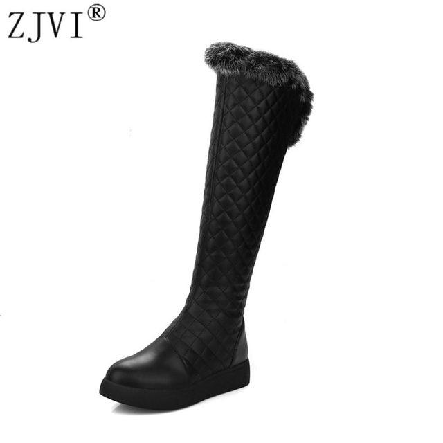 ZJVI women knee high snow boots woman thigh high boots women autumn winter boots ladies flat warm thick fur plush 2018 shoes