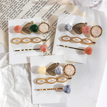 2019 New Vintage Marble Stone Heart Imitation Pearl Hair Clips Sets For Women Fashion Accessories Acrylic Resin Hairpins