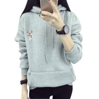 Sudaderas Mujer 2016 Autumn Winter Deer Cashmere Women Hoodies With Hood Thick Sweatshirt Christmas Pullover With