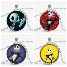 LETS SLIM Christmas Night Fright JACK Glass Pendant Necklace Electric Shock Skeleton Time Gem To Map Private Custom