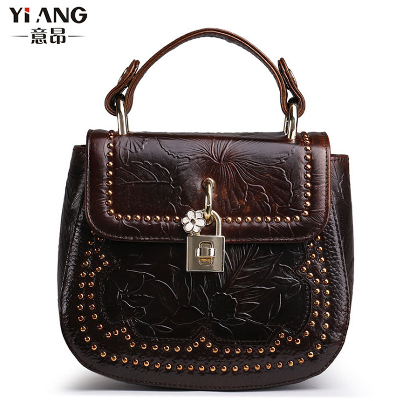 New Women Vintage Trend Handbag Oil Wax Genuine Leather Cowhide Embossed Tote Bag Casual Crossbody Shoulder Bag aetoo 2017 new arrival oil wax genuine leather women handbags fashion embossed crossbody bags female handbag trend bag bolsas