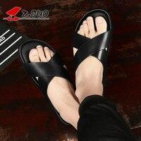 2018 New Arrival Summer Cool Cross Belt Nude Black Men Slippers Plus Size Genuine Leather Slides Platform Beach Slippers