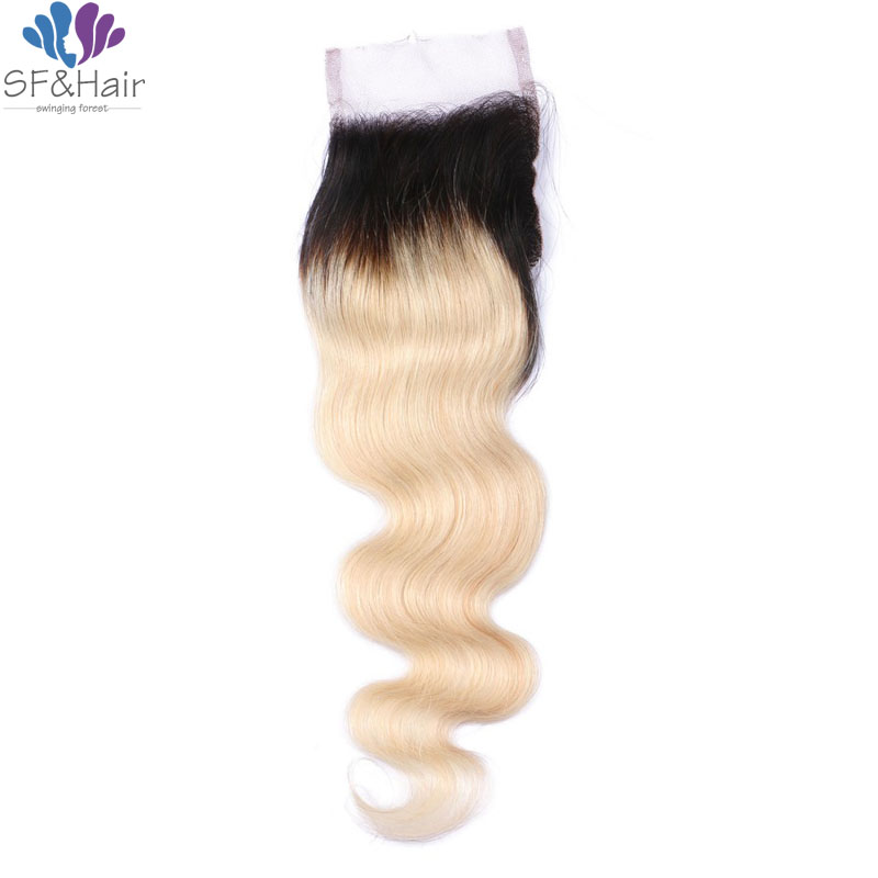 #1B 613 Lace Closure Peruvian Body Wave Closure Bleached Knots Dark Roots 100% Virgin Human Hair Ombre Blonde Lace Closure