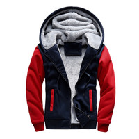 冬厚みの暖かい男性トレーナーファッションパーカー綿コート男