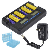 8 Slot Smart AA AAA NIMH Rechargeable Batteries Lcd Charger with Discharger Capacity Repair Activation Function Black 10000606