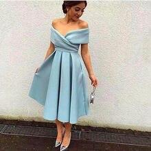 4de63635e Barato modesto 2016 una línea Vestidos De cóctel el hombro satén con  volantes De noche Formal Vestidos fiesta árabe Vestidos De .