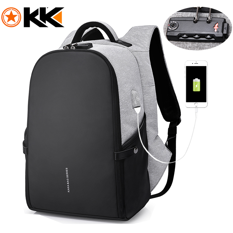 "Men Anti theft Backpack 15.6"" Laptop Backpacks Teenage Backpack Schoolbag Male Women Mochila Water repellent Large Capacity KAKA(China)"