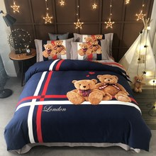 Home textile new all cottongrinding MAO cartoon. cute little bear four-piece set. suit for Kids bedding set.bedding ste.(China)