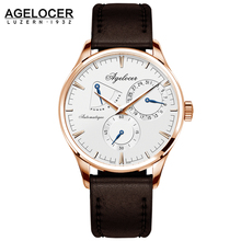 New Design Men Army Military Watch Agelocer Men's Watches White Dashboard Automatic Movement Power Reserve Display Seconds Dial