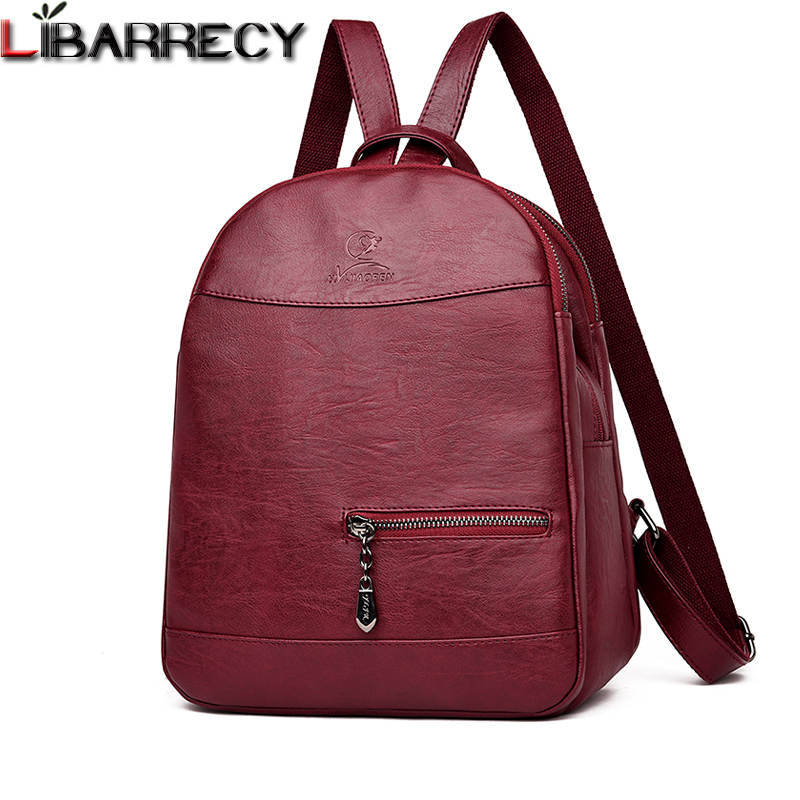 купить Vintage Women Backpack Famous Brand Leather Backpack Female Large Capacity School Bags for Girls Designer Shoulder Bag Mochila по цене 1494.59 рублей