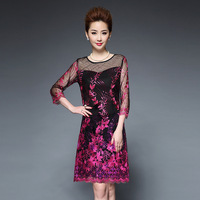 2016 New Autumn Women High Quality Embroidery Dress Casual Half Sleeve Sequin Elegant Party Dresses Vestidos
