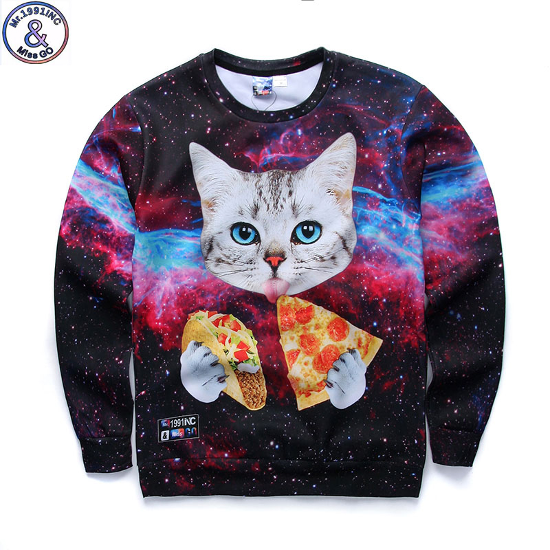 Mr.1991 brand fashion youth Spring Autumn thin sweatshirts girls big kids funny 3D pizza kitten printed jogger hoodies boy W2