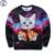 Mr.1991 marca juventude moda Primavera Outono camisolas finas meninas grandes crianças gatinho engraçado 3D pizza basculador impressos hoodies menino W2
