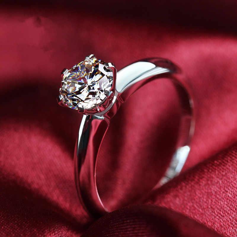 แบรนด์คลาสสิกเยี่ยม Claw แหวน 1.5 กะรัตเพชรสังเคราะห์แหวน Solitaire Prongs แหวนหมั้นเงินสเตอร์ลิงเครื่องประดับ PT950