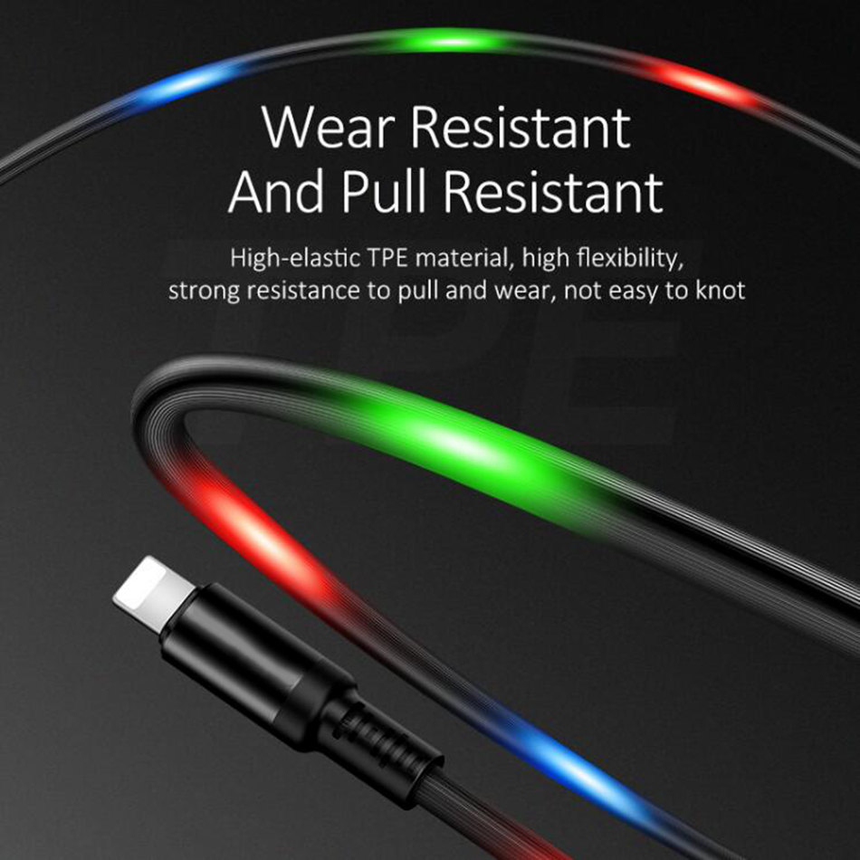 Volume Control Dancing LEDLight Flash Cable For iPhone Huawei Sumsung Data Sync 2A Fast Charging For Lightning USB Cable in Mobile Phone Chargers from Cellphones Telecommunications