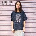 Вери güde женская свободный размер полосатые футболки на лето широкий топы