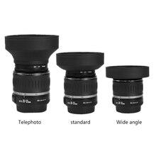 New Rubber Tele Wide-Angle Lens Hood Standard 49mm 52mm 58mm 55mm 62mm 67mm 72mm 77mm Telephoto + Lente Cap For Canon Nikon Sony
