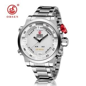 Image 2 - جديد OHSEN العلامة التجارية الرقمية الكوارتز رجال الأعمال المعصم الأبيض سوار فولاذي كامل موضة LED فستان عسكري ساعة عادية هدية