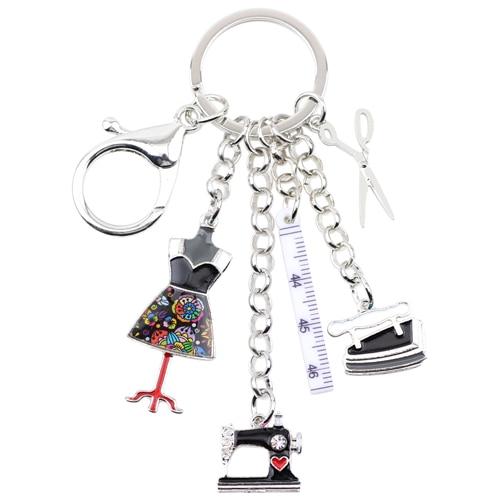 Bonsny Enamel Metal Sewing Machine Tool Key Chains Rings Women Handbag Jewelry