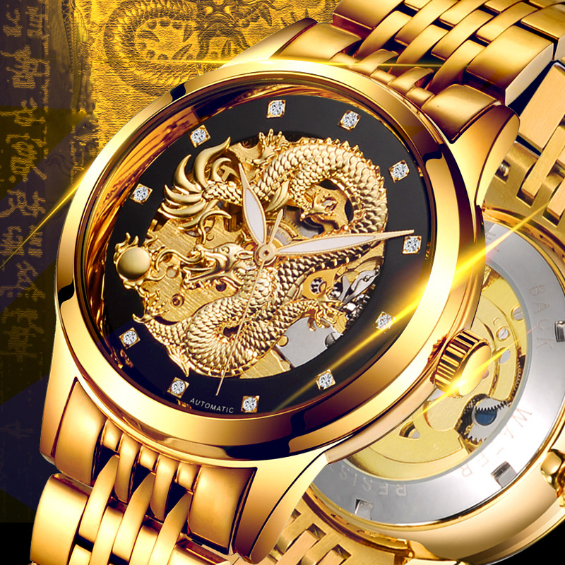 Fully Automatic Mechanical Watches Dragon Skeleton Tourbillon Wristwatch 50m Waterproof Mens Watches Top Brand Luxury Gold Watch tourbillon business mens watches top brand luxury shockproof waterproof skeleton watch men mechanical automatic wristwatch