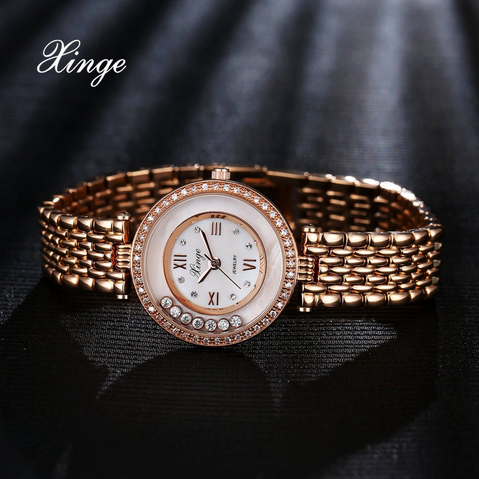Xinge Brand Luxury Watches For Women Zircon Bracelet Quartz Clock Ladies Business Dress Watch Fashion Sport Gift Watch Relogio xinge top brand luxury women watches silver stainless steel dress quartz clock simple bracelet watch relogio feminino